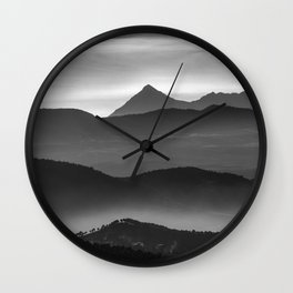"""Misty mountains"". Sunset. BW Wall Clock"