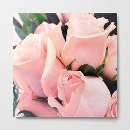 Glitzy Glam Pastel Pink Romantic Roses Bouquet Metal Print