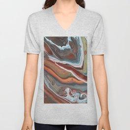 Geode Marble Brown Blue Fluid Modern Art Unisex V-Neck