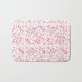 Elegant stylish dusty pink white floral lace Bath Mat
