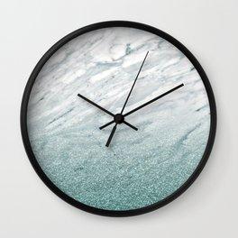 Calacatta Verde glitter gradient Wall Clock