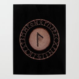 Laguz Elder Futhark Rune of the unconscious context of becoming or the evolutionary process Poster
