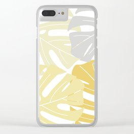 Yellow tropical leaves Clear iPhone Case
