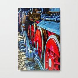 Retro Steam Train Engine Wheels And Rails Metal Print