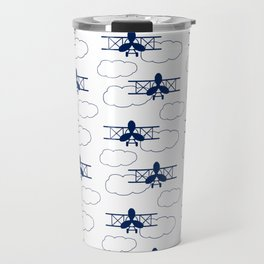 Vintage Airplane Clouds Navy Blue Travel Mug