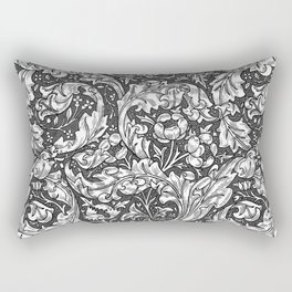 Art Nouveau Acanthus Leaves and Flowers, Gray Rectangular Pillow