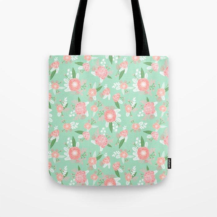 Floral bouquet pastel mint pink florals boho painted pattern basic minimal pattern print Tote Bag
