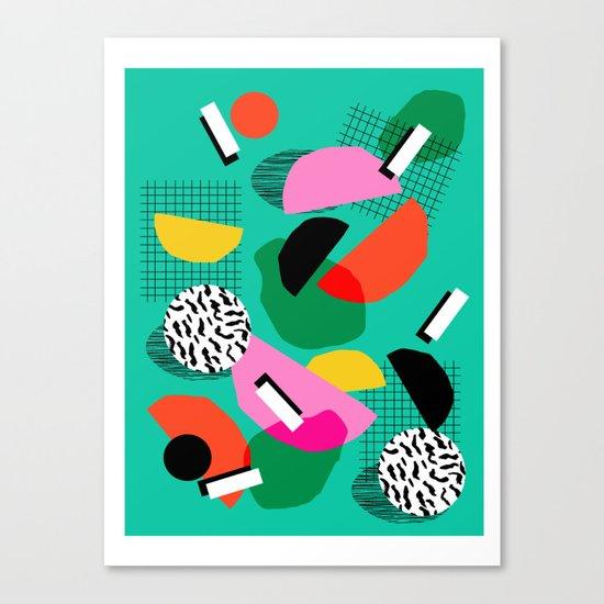 Flange - memphis inspired pop art retro throwback 1980s neon style art print decor hipster socal Canvas Print