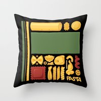 pasta Throw Pillows featuring Pasta Mondrian by Chayground