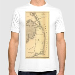 Vintage Map of The Outer Banks (1862) T-shirt