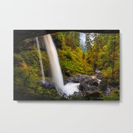 Pictures USA Silver Falls State Park Oregon Nature Autumn Waterfalls Parks forest Stones park Forests stone Metal Print