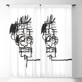 A vectorised and reworked Basquiat notebook sketch Blackout Curtain