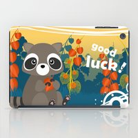 racoon iPad Cases featuring Lucky racoon by MonsterFromTheLAke