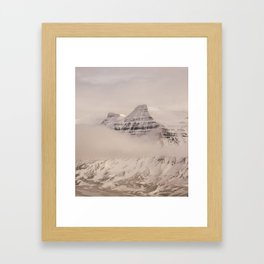 Frozen mountain peaks Framed Art Print