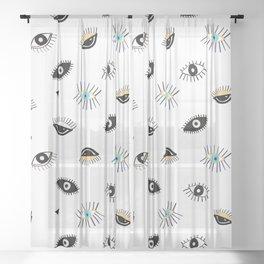 Eyes pattern white background Sheer Curtain