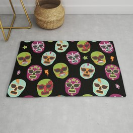 Máscaras (black background) Rug