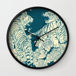 floral tigers Wall Clock