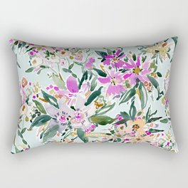 SWEPT AWAY Powder Blue Tropical Floral Rectangular Pillow