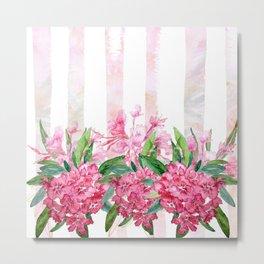 Pink Rush Oleander Watercolor Metal Print