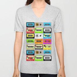 Retro 80s Cassette Tape Pattern Unisex V-Neck