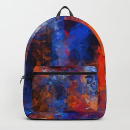 psychedelic geometric polygon shape pattern abstract in red orange blue Backpack