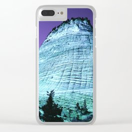Fantasy Blue Ridge Mountain With Purple Sky Clear iPhone Case