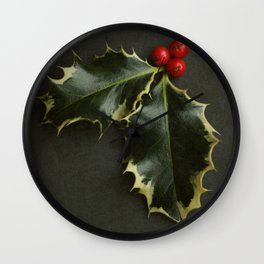 Holly leaves and berries Wall Clock