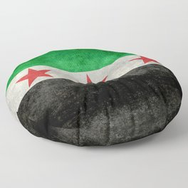 Independence flag of Syria, vintage retro style Floor Pillow