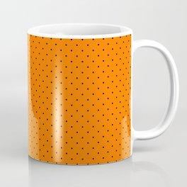 Extra Small Black on Pumpkin Orange Polka Dots Coffee Mug