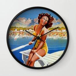 Vintage Marina di Massa Italian travel advertising Wall Clock