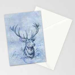 Joy to the world Christmas deer Stationery Cards
