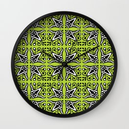 Funky Tribal Green Pattern Wall Clock