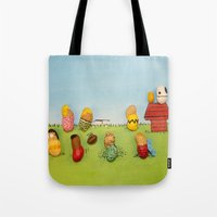 peanuts Tote Bags featuring Real Peanuts by Phil Jones