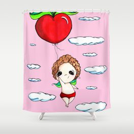 Flying Apple Hearts Baby Faery Shower Curtain