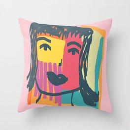 Abstract Organic Face Art Throw Pillow