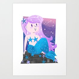 """Galaxy"" Mermaid Art Print"