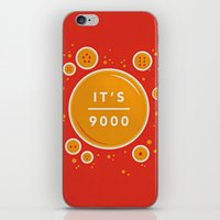 dragonball iPhone & iPod Skins featuring IT'S OVER 9000 (Dragonball) by Jacob Waites