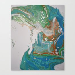 Turquoise Green Fluid Flow Marble Art Canvas Print