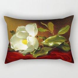 A White Magnolia on Red Velvet by Martin Johnson Head Rectangular Pillow