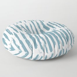Vertical Dash Teal on White Floor Pillow