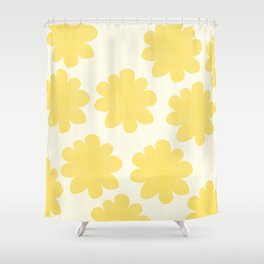 Yellow Flowers on Pale Yellow Shower Curtain