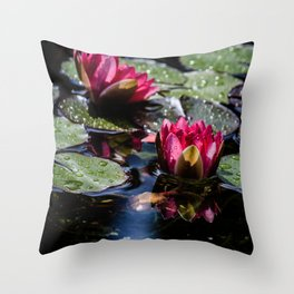 Two water lilies in the sunbeam Throw Pillow