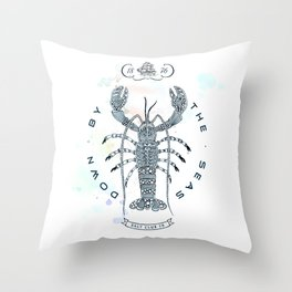 Lobster - Salt Club 76 - Down by the Sea Throw Pillow