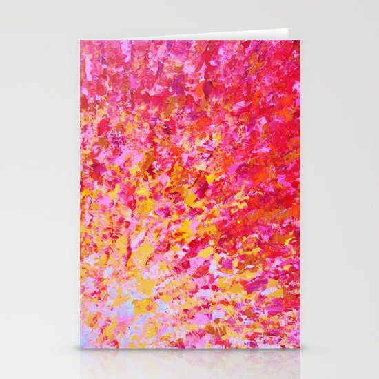 ROMANTIC DAYS - Lovely Sweet Romance, Valentine's Day Sweetheart Pink Red Abstract Acrylic Painting Stationery Cards