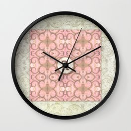 Monogrammed Letter R Scroll Swirl Modern Pattern in Pink Wall Clock
