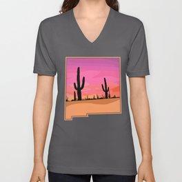 New Mexico Cactus Sunset Desert State Outline Unisex V-Neck