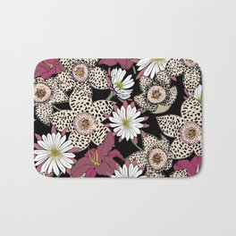Lilies, spotted stapelia flowers and cactus flowers. Exotic Botanical Bath Mat