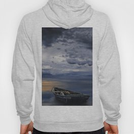 Morning Sunrise with Anchored Wooden Row Boat Hoody