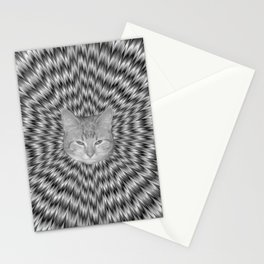 Dizzy Cat Abstract in Monochrome Stationery Cards