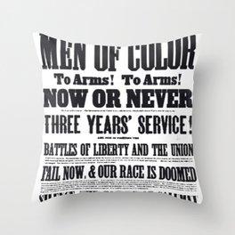 African American Freemen of Color Civil War Recruitment Broadside Advertising Poster Throw Pillow